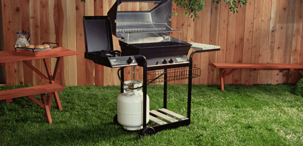 grill set in the garden